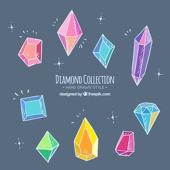 Set di diamanti colorati disegnati a mano