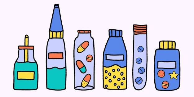 Set di bottiglie di medicinali colorate disegnate a mano