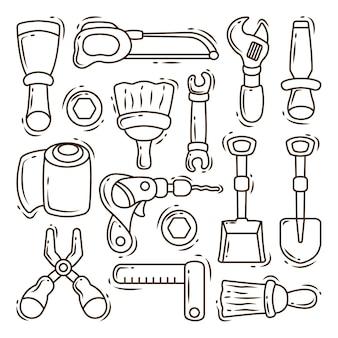 Set di colorazione disegnata a mano della raccolta di scarabocchi del fumetto dell'attrezzatura per l'edilizia