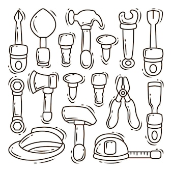 Set di strumenti di costruzione disegnati a mano cartone animato doodle bundle da colorare