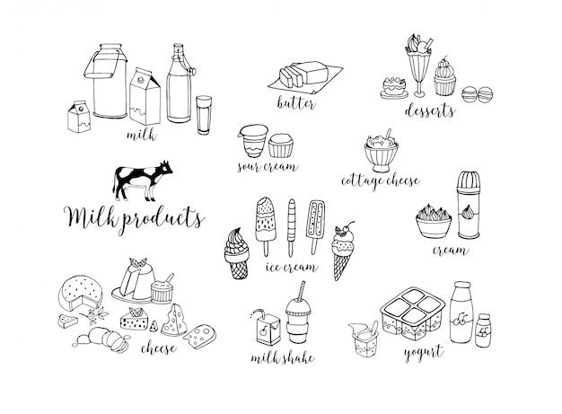 Set di prodotti lattiero-caseari contorno disegnati a mano.