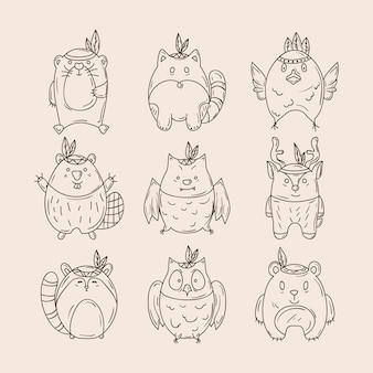 Set di animali indiani carini disegnati a mano