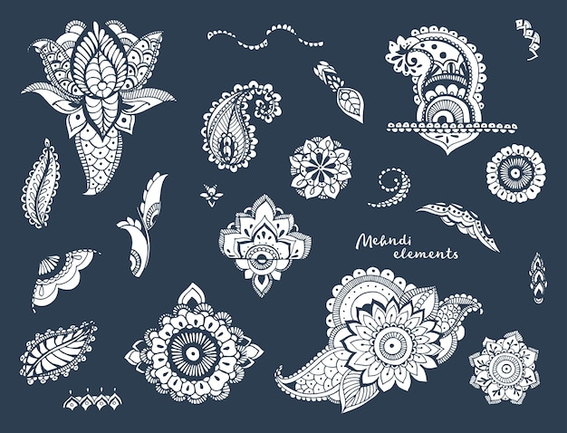 Set di disegnati a mano diversi elementi mehndi