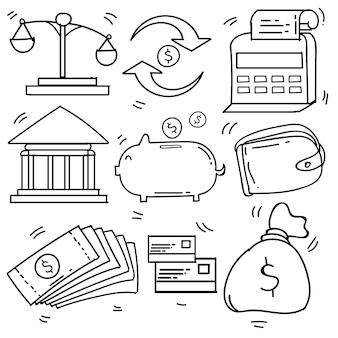 Set di doodle disegnato a mano affari e tasse, icone di finanza tema doodle collection in background . isolato bianco