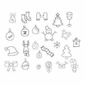 Una serie di disegni scarabocchi disegnati a mano sul tema del nuovo anno e del natale. elementi di contorno vettoriali per decorare biglietti di auguri, inviti e confezioni..