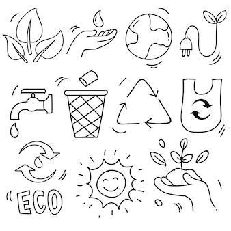 Set di icone disegnate a mano di ecologia, problema di ecologia e energia verde in stile scarabocchio, illustrazione vettoriale