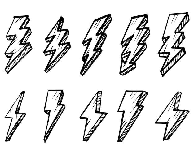 Insieme delle illustrazioni disegnate a mano di schizzo di simbolo del fulmine elettrico. simbolo di tuono doodle icona. elemento di design isolato su sfondo bianco. illustrazione vettoriale.