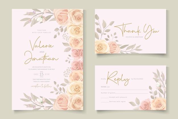 Set di modello di carta di nozze floreale elegante disegnato a mano