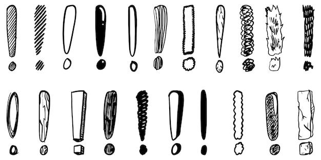 Set di punti esclamativi disegnati a mano. illustrazione vettoriale.