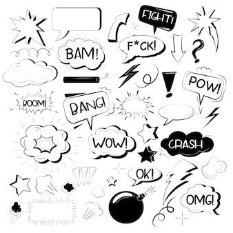 Set di elementi di effetto sonoro di parole esplosive disegnate a mano doodle comici in pop art sketch