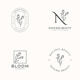 Set di femminile disegnato a mano, logo per salone spa, boutique di bellezza per capelli e cosmetici,