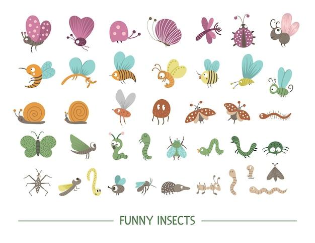 Set di insetti piatti disegnati a mano