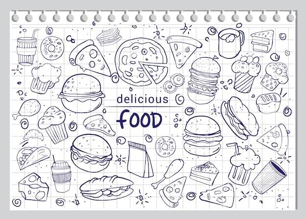 Set di cibo disegnato a mano isolato su priorità bassa del libro bianco, illustrazione di vettore di doodle.
