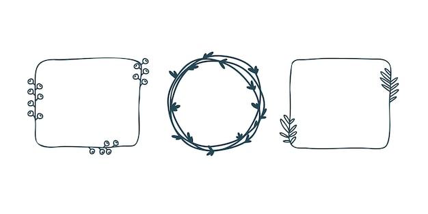 Imposta cornici disegnate a mano in cornici quadrate in stile scarabocchio per la decorazione di una cornice rotonda con foglie carine