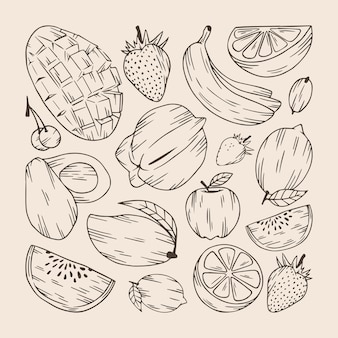 Set di collezioni di frutta disegnate a mano