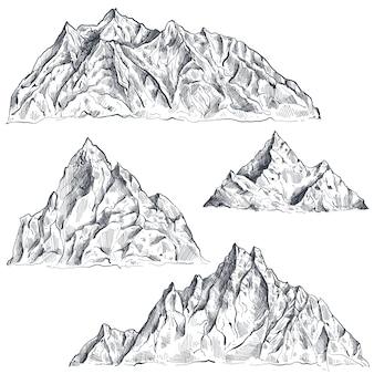 Set di catene montuose grafiche disegnate a mano paesaggio della natura