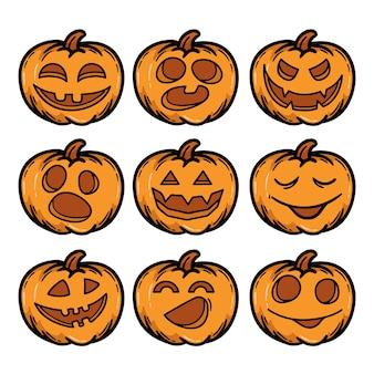 Set di disegnati a mano zucche di halloween terribile sorriso