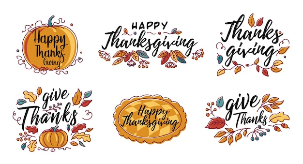 Set di tipografia happy thanksgiving disegnato a mano in banner ghirlanda di autunno.