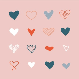 Set di illustrazioni di cuore disegnati a mano