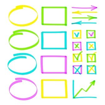 Insieme di oggetti di nota linee linee evidenziate disegnate a mano