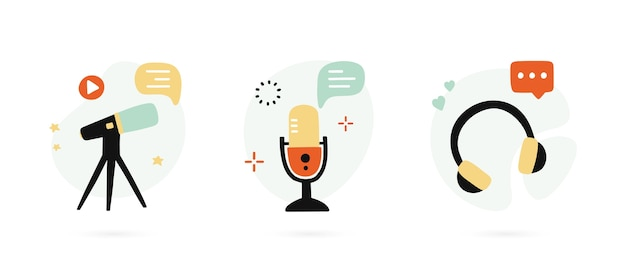 Set di icone disegnate a mano per il podcasting.