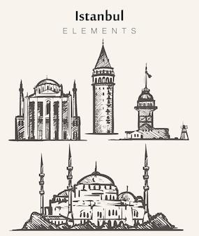 Set, di, hand-drawn, istanbul, buildings., istanbul, elementi, schizzo, illustration. fanciulla, torri di galata, moschea blu,