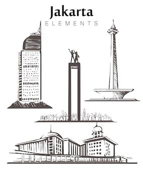 Insieme di edifici di giacarta disegnati a mano