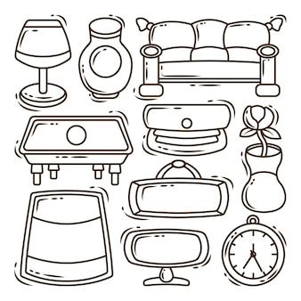 Set di colori kawaii disegnati a mano per il salotto del fumetto doodle bundle
