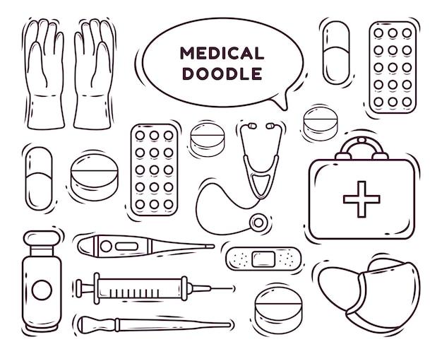 Set di disegni da colorare in stile doodle fumetto medico kawaii disegnato a mano
