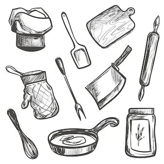 Insieme di oggetti da cucina disegnati a mano
