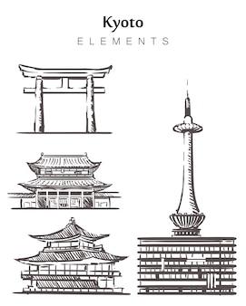 Insieme di edifici di kyoto disegnati a mano