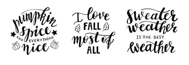 Set di citazioni di stagione autunnale autunnale di lettere disegnate a mano