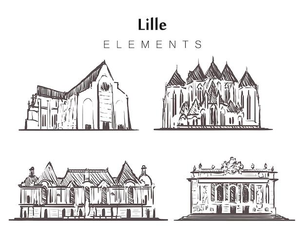 Insieme di edifici di lille disegnati a mano