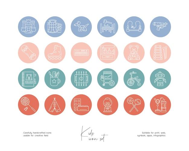 Set di illustrazioni vettoriali per bambini al tratto disegnate a mano per social media o branding
