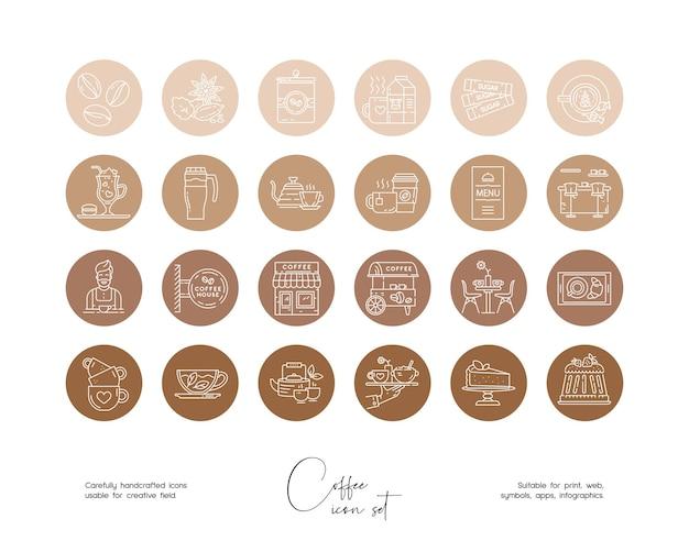 Set di illustrazioni di cibo e bevande vettoriali disegnate a mano al tratto