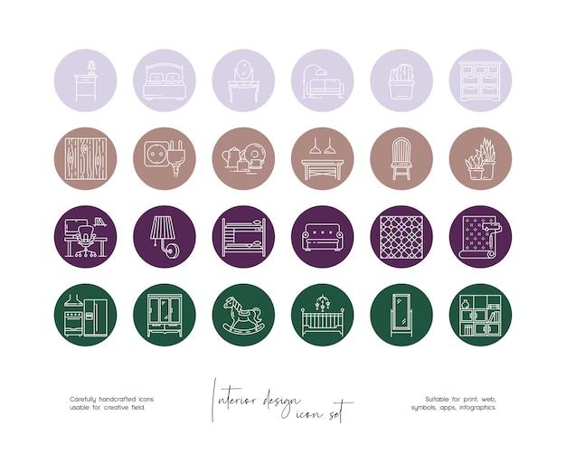 Set di illustrazioni di design d'interni vettoriali disegnate a mano per social media o branding