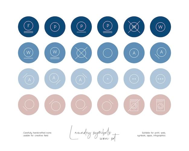 Set di illustrazioni di simboli di lavanderia vettoriali disegnate a mano per social media o branding Vettore Premium