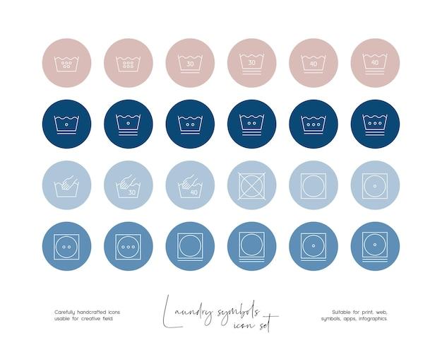 Set di illustrazioni di simboli di lavanderia vettoriali disegnate a mano per social media o branding
