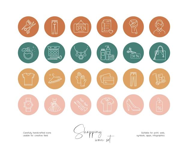 Set di illustrazioni di shopping online vettoriali disegnate a mano per social media o branding