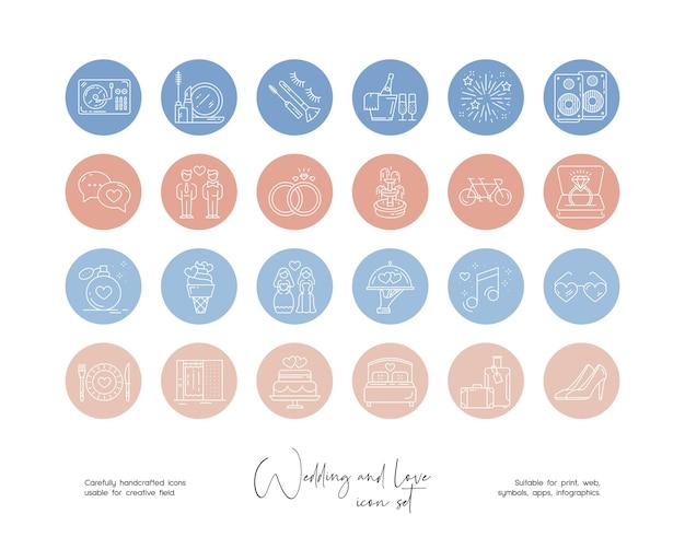 Set di illustrazioni vettoriali per matrimoni e amore disegnate a mano per social media o branding