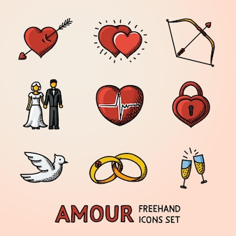 Set di icone love amour disegnate a mano con cuore con freccia due cuori cupido arco coppia