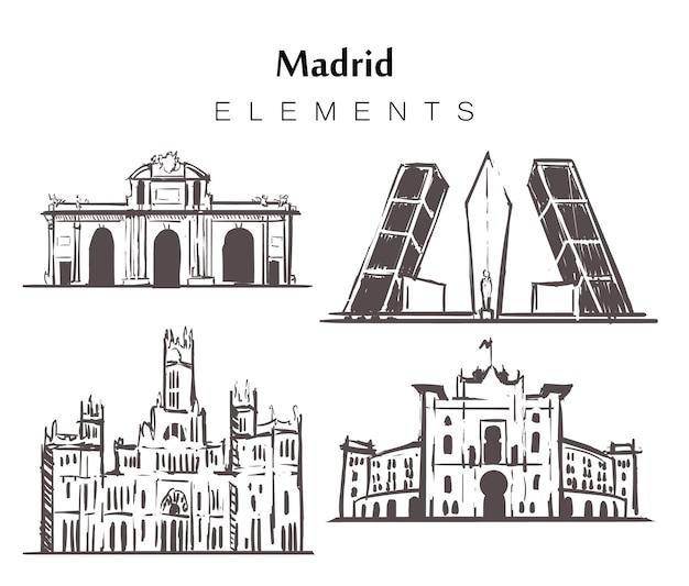 Insieme di edifici di madrid disegnati a mano