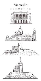 Insieme di edifici marselle disegnati a mano