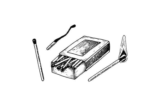 Set di fiammiferi disegnati a mano
