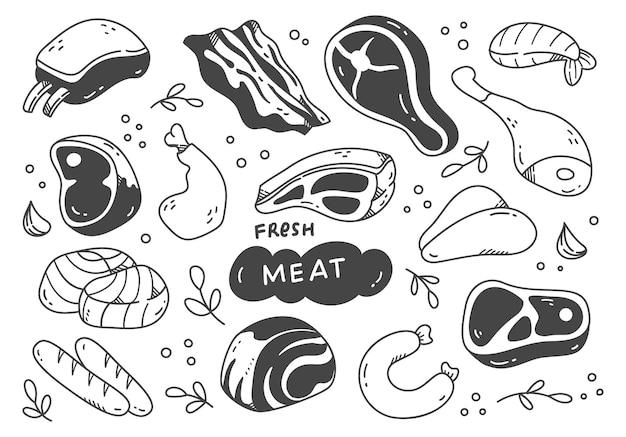 Set di doodle di carne disegnati a mano