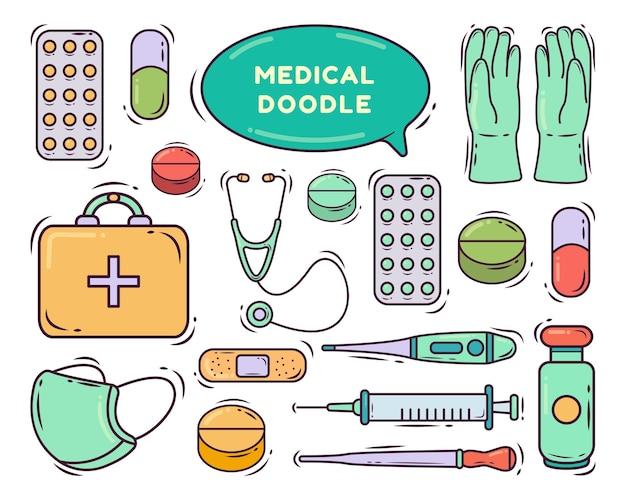 Insieme del disegno di doodle del fumetto medico disegnato a mano