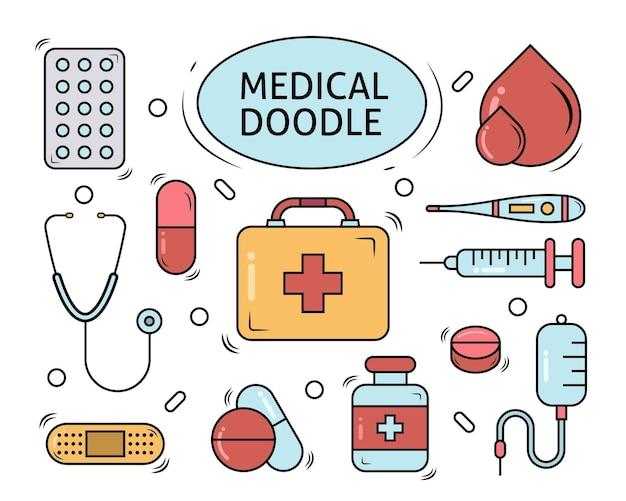 Insieme del disegno di doodle del fumetto medico disegnato a mano Vettore Premium