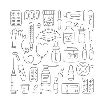 Set di farmaci disegnati a mano, farmaci, pillole ed elementi medici sanitari.