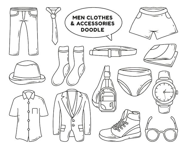 Set di vestiti e accessori da uomo disegnati a mano da colorare per cartoni animati scarabocchi