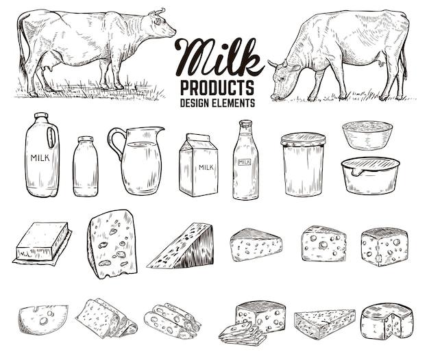 Insieme di elementi di design di prodotti lattiero-caseari disegnati a mano